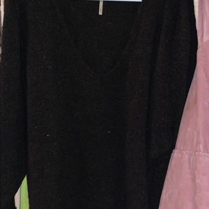 BLACK WITH NEON ACCENTS FREE PEOPLE COMFY SWEATER